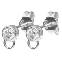 2x Sterling silver CZ Crystal Stud earring loop post