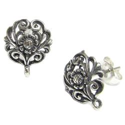 2x Bali Antique 925 Sterling Silver Flower Stud Earrings Loop Post