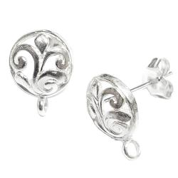 2x 925 Sterling Silver Round Flower Stud Earrings Loop Post