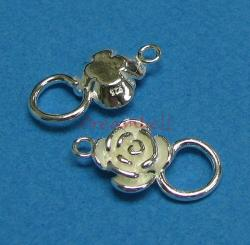 1x  Sterling Silver ROSE FLOWER PENDANT CONNECTOR 19.3MM