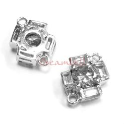 1x Rhodium Sterling Silver  Clear  CZ CROSS Link Connector Spacer