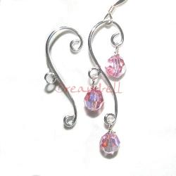 2x Sterling Silver Leaf Chandelier Earring Connector with Ring for Dangle