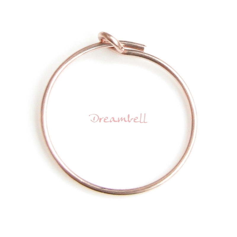 4pcs 14k Rose Gold Filled Ring Earring Connector 15mm Wire Beading Hoop 21ga