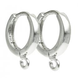 2 x Rhodium on 925 Sterling Silver Hoop Ring Huggie Dangle Earring Connector