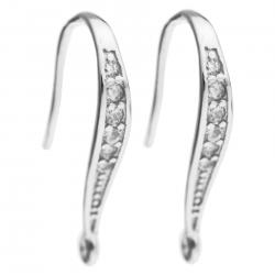 2x Rhodium on 925 Sterling Silver Clear CZ Crystal Earwire French Hook Dangle Earring Connector