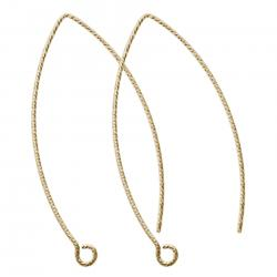 2x 14k Gold Filled Twisted Earwire French Hook Dangle Earring Connector