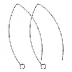 2x Rhodium on Sterling Silver Twisted Earwire French Hook Dangle Earring Connector