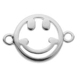 2x 925 Sterling Silver Happy Face Smiley Necklace / Bracelet / Earring Link Connector