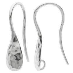 2x 925 Sterling Silver Hammered Earwire French Hook Dangle Drop Earring Connector