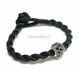 Chinese HAND KNOTTED SILK CORD BRACELET Black for European Charm Bead