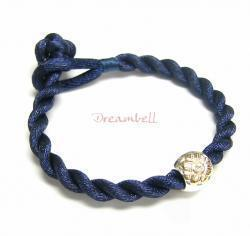 Chinese HAND KNOTTED SILK CORD BRACELET Dark Blue for European Charm Bead