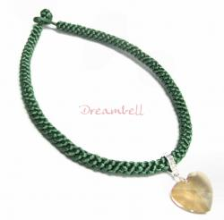 Chinese HAND KNOTTED SILK PENDANT CORD NECKLACE Green
