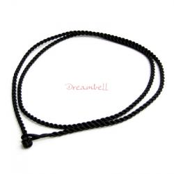 1x Chinese Hand Knotted Black Silk Pendant Cord Necklace for European Bead Charm 16""