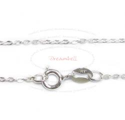 1x Sterling Silver FLAT CABLE ROLO chain with spring clasp 16""