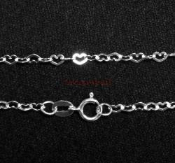 1x Sterling Silver Flat Heart Chain with spring clasp 16""