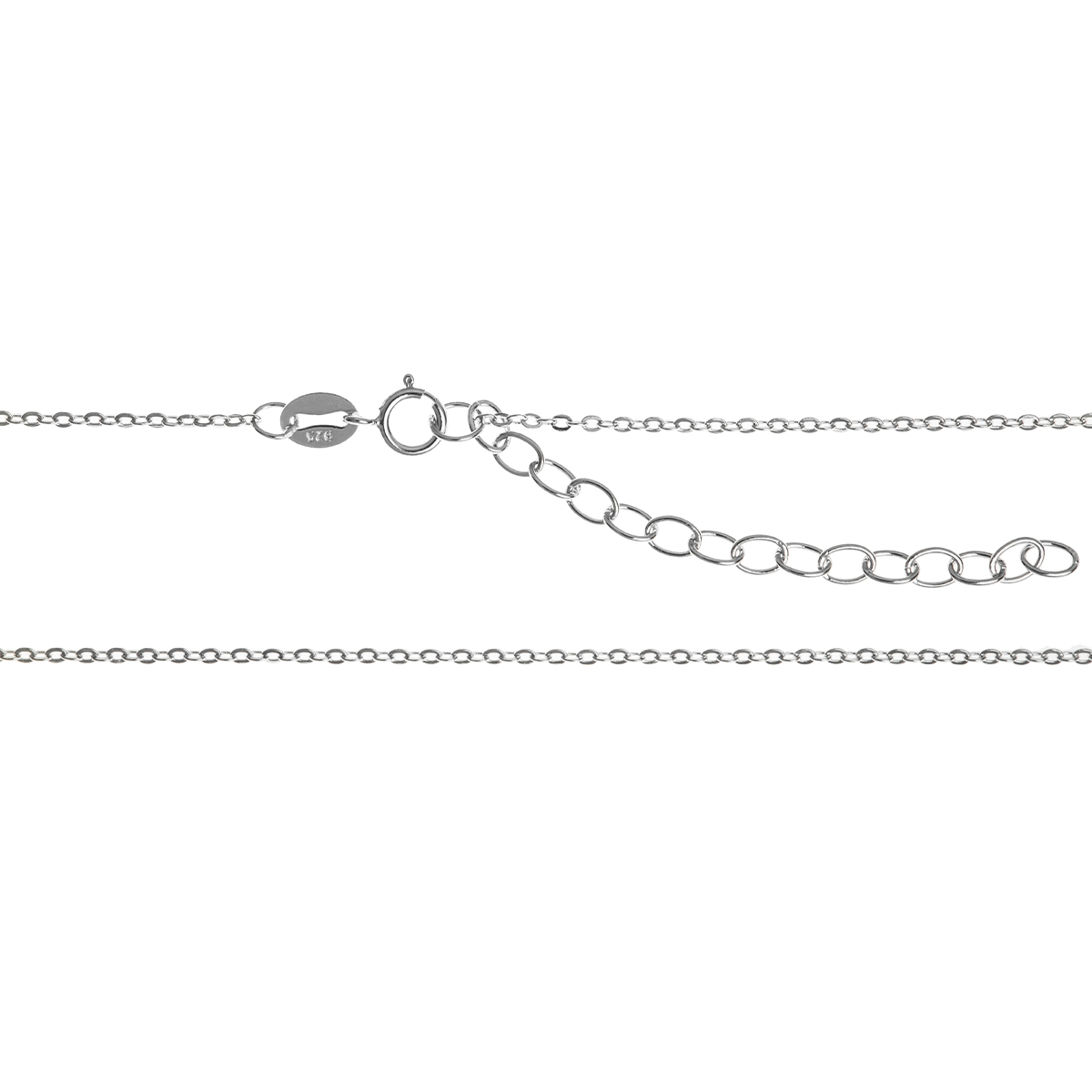 Rhodium on Sterling Silver Oval Ring Rolo Link Cable Chain Necklace with Extender Spring Clasp 16""