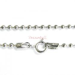 1x Rhodium on Sterling Silver Round Ball Chain Necklace 2mm w/ Spring Ring 18""