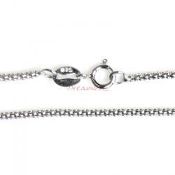 1x Rhodium on Sterling Silver Korean Box Chain Necklace 1.5mm with Spring Ring Clasp 16""