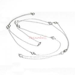 1x Rhodium on Sterling Silver Round Clear CZ Charm Link Rolo Cable Chain Necklace w/ Spring Clasp 36""