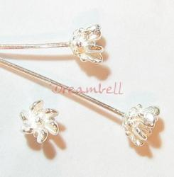 10 Sterling Silver Head pins Bali Ball dot Headpins 22GA 2""