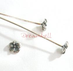 10 Sterling Silver Head pins FLOWER Headpins 26GA 2""