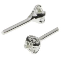10x Rhodium on 925 Sterling Silver Clear CZ Crystal Head Pin Headpins 0.5mm / 24ga Gauge