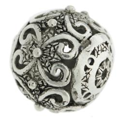 1x Antique 925 Sterling Silver Bali Round Flower Focal Bead