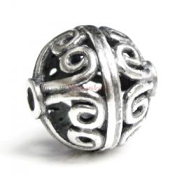 1x Antique 925 Sterling Silver Bali Round Flower Focal Bead 11mm