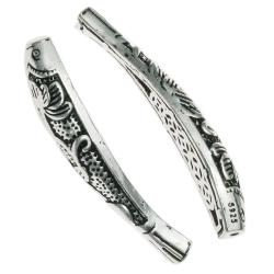 1x 925 Sterling Silver Koi Nishikigoi Good Luck Lotus Flower Carp Fish Curved Tube Spacer Bead