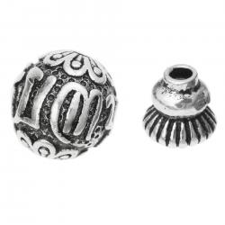 1 Set Antique 925 Sterling Silver Gourd Sutra Buddhist Prayer Bead Spacer Cap