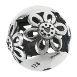 1x Bali 925 Sterling Silver 10mm Round Daisy Flower Filigree Spacer Ball Bead