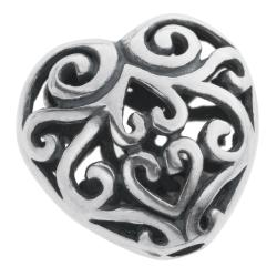 1x Bali 925 Sterling Silver Filigree Flower Puff Heart Love Spacer Bead