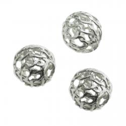 8x Sterling silver Round Wire Open MESH Net Ball 6mm
