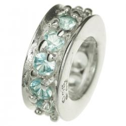 Sterling Silver Round Ring Bead Light Aquamarine CZ Crystals for European Charm Bracelets