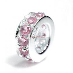 Sterling Silver ROUND RING Bead Pink Rose CZ crystals for European Bead charm Bracelet