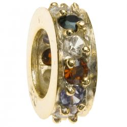 Gold 925 Sterling Silver ROUND RING Bead w/ Multi color CZ crystals for European Charm Bracelets