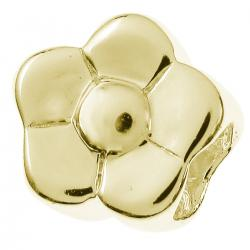 14k Gold 925 Sterling Silver PLAIN DAISY FLOWER Bead for European Charm Bracelets