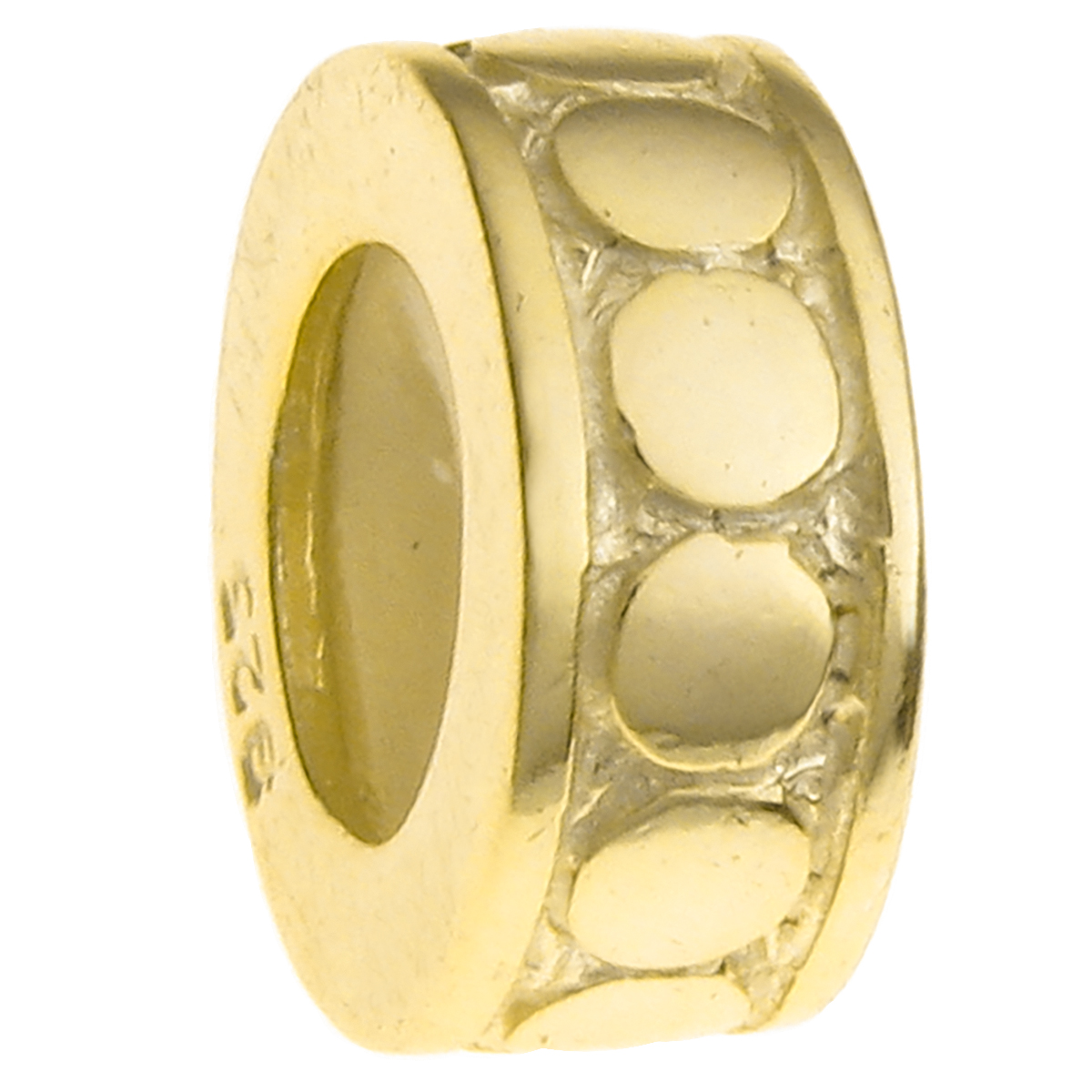 Gold 925 Sterling Silver STOPPER RUBBER CIRCLE DOT ROUND Bead for European Charm Bracelets