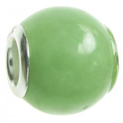 Sterling Silver JADE ROUND Bead for European Charm Bracelets 12mm