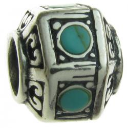Sterling Silver Hexagon Turquoise Stones Bead for European Charm Bracelets