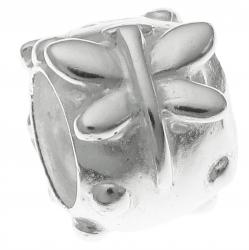 Sterling Silver BUTTERFLY FLOWER Bead for European Charm Bracelets