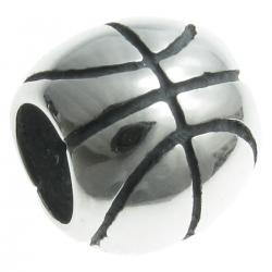 Sterling Silver BASKETBALL Round for European Bead charm Bracelet