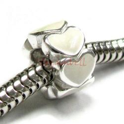 Sterling Silver Endless love Heart  Enamel bead for European Charm Bracelets