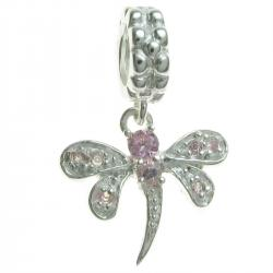 Sterling Silver Dragonfly CZ Rose Crystal Dangle Bead for European Charm Bracelets