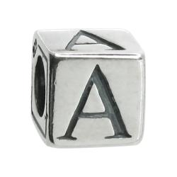 "Sterling Silver Dice Cube Letter A"" Bead for European charm Bracelets"