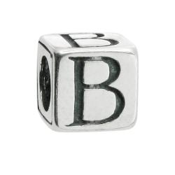"Sterling Silver Dice Cube Letter B"" Bead Tube for European Charm Bracelets"