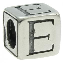 Sterling Silver Dice Cube Letter E Bead Tube for European Charm Bracelets