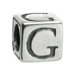 "Sterling Silver Dice Cube Letter G"" Bead Tube for European Charm Bracelets"