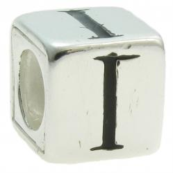 "Sterling Silver Dice Cube Letter I"" Bead Tube for European Charm Bracelets"