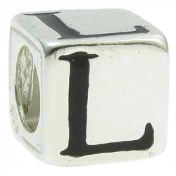 "Sterling Silver Dice Cube Letter L"" Bead Tube for European Charm Bracelets"